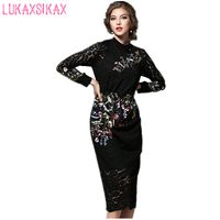High End Custom 2017 New Fashion Flowers Embroidery Black Lace Runway Dress Slim Long Sleeve Pencil