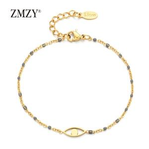 Image 5 - ZMZY 7pcs Mixed Color Boho Evil Eye Charm Vintage Stainless Steel Bracelet Women Gold Color Chain Bracelets Bangles Jewelry