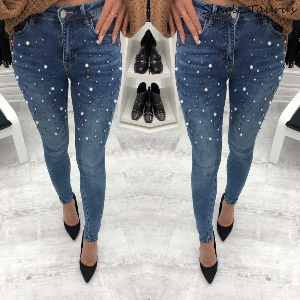 Embroidered Flares Jeans Women Fashion Slim Skinny Denim Pants High Street Blue Black Distressed Jeans With Rhinestones 2019