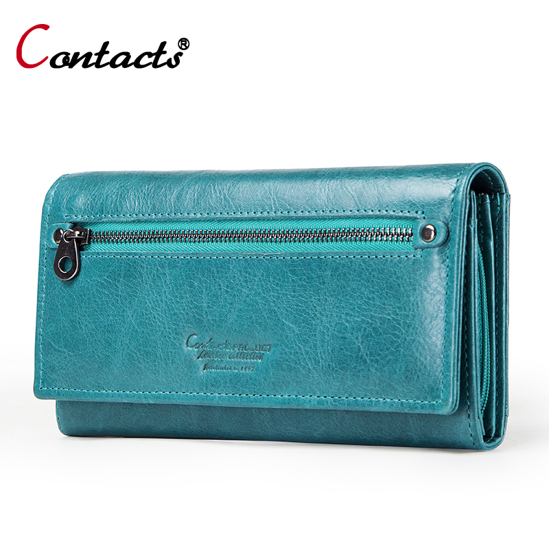 Contact's Long Genuine Leather Wallet Women Coin Purse Ladies Wallet For Credit Card Holder Money Bag Walet For Women Clutch New