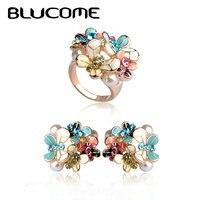 Blucome Blume Ohrringe Ring Set Emaille Simulierte Perlenschmuck Sets Pendientes Brinco Hochzeit Zubehör Für Frauen Mädchen