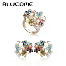 Blucome Flower Earrings Ring Set Enamel Simulated Pearl Jewelry Sets Pendientes Brinco Wedding Party Accessories For Women Girls(China)