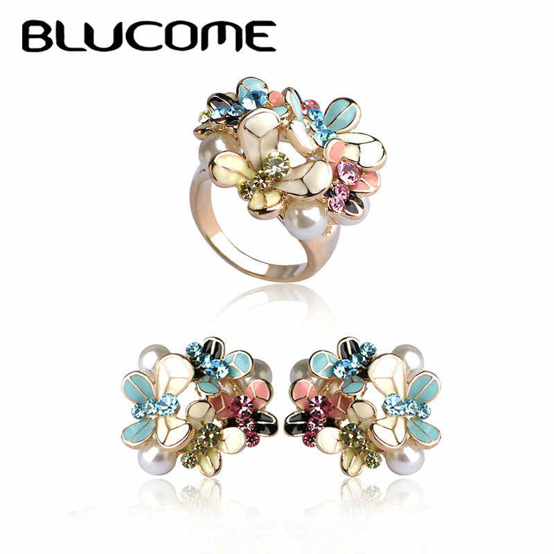 Blucome Flower Earrings Ring Set Enamel Simulated Pearl Jewelry Sets Pendientes Brinco Wedding Party Accessories For Women Girls