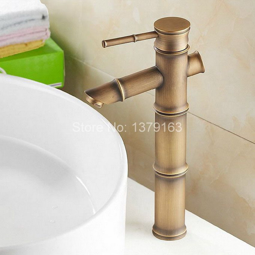 Classic Single Lever Handles Brass Bamboo Style Bathroom Faucet ...
