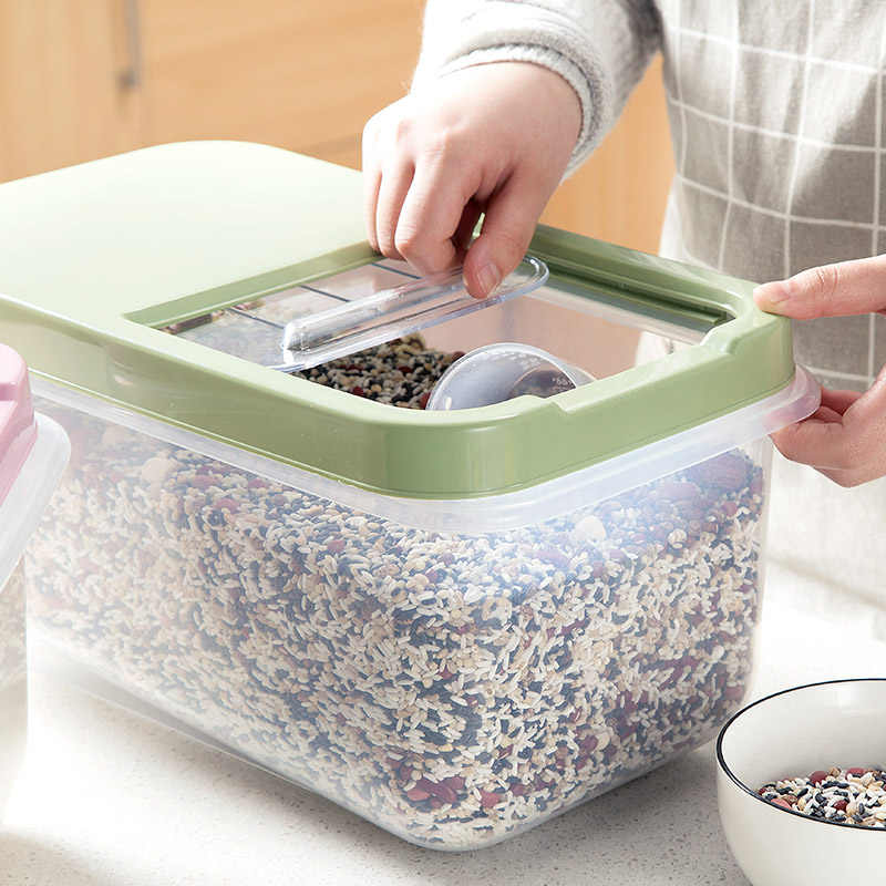Large Kitchen Clear Cover Storage Box Holder Grain Food Rice Bean Organizer Case Flour Cereal Candy Snacks Seal Container Boxes