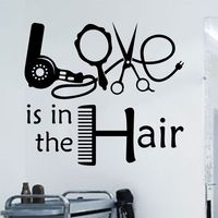 LOVE IS IN THE HAIR Wall Art Sticker Salon Vinyl Transfer Decal Hairdressers Mural Hair Shop