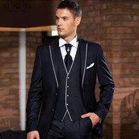 New Thời Trang Gentleman Suit (Set) chú rể tốt nhất người đàn ông váy cưới cưới váy với một màu trắng cạnh tốt nhất phù hợp với (áo + quần + áo + tie)