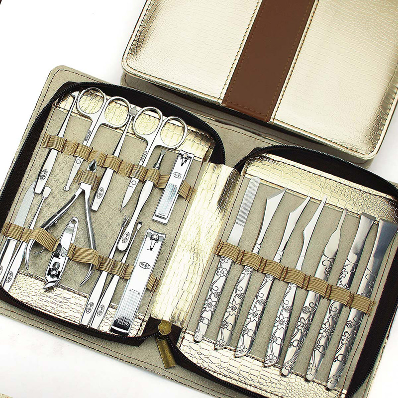New Manicure Sets Nail Tool kit Carved Nail Art Manicure Tools Set Nails Clipper Scissors Knife With Bag for Gift High Quality 12 pcs nail art manicure tools set nails clipper scissors tweezer knife manicure sets stone pattern case for nail manicure