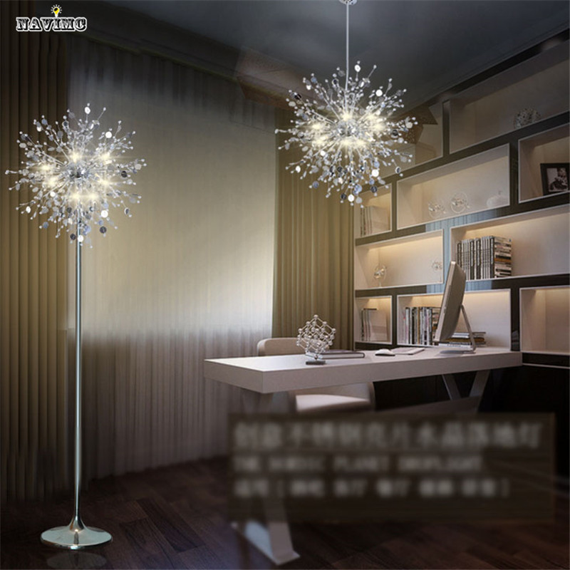 Crystal Living Room Stand Floor Lamp Modern Flower Floor Light For