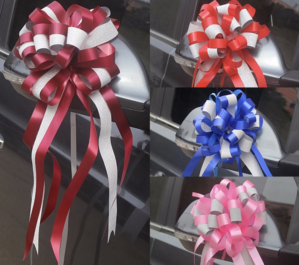 30 pcs beautiful whitesilver color 32mm large pull bow ribbon beautiful luster two tone 55x150cm large pull bow ribbon flowers for gift wrap packaging izmirmasajfo