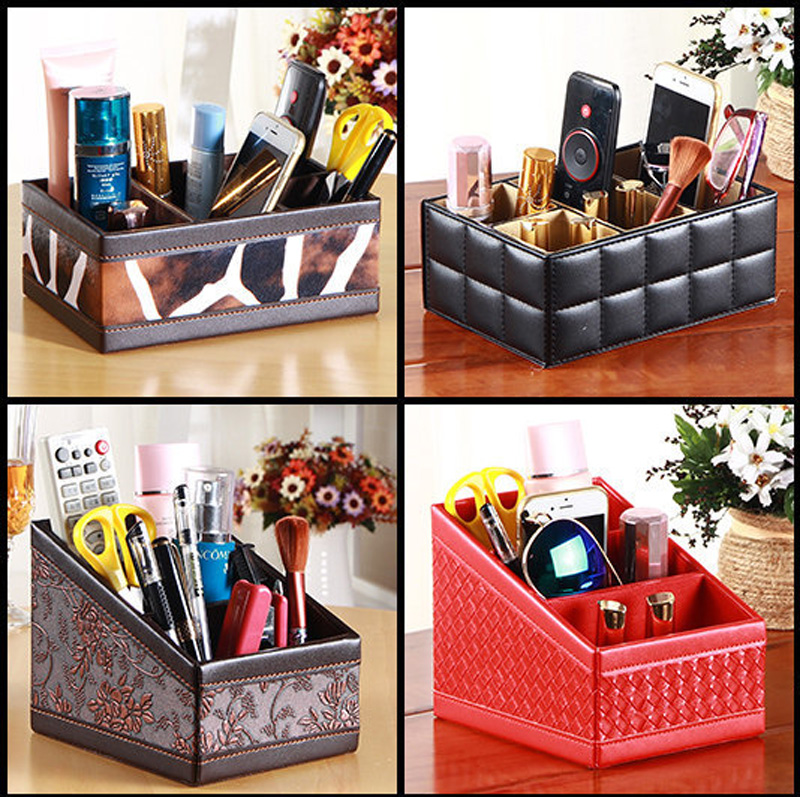 Retro PU Leather Phone//TV Remote Control Storage Box Home Desk Organizer Holder