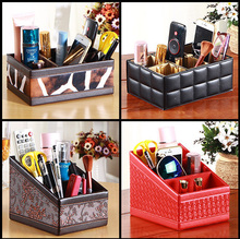 PU Leather Remote Control Holder Organizer, Coffee Table Pen Mobile Phone TV Guide CD Caddy Mail Storage Box Desktop Organiser