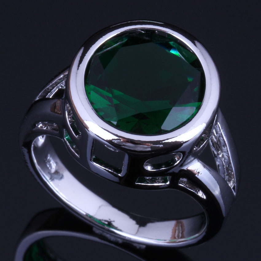 Pretty Round Green Cubic Zirconia 925 Sterling Silver Ring For Women V0451 in Rings from Jewelry Accessories