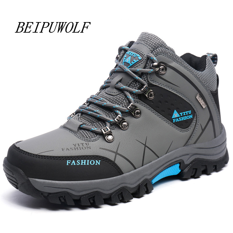 Plus Size 39-45 46 47 Brand Hiking Shoes Men Spring Hiking Boots Mountain Climbing Shoes Outdoor Sport Shoes Trekking Sneakers 2017 new autumn winter trekking boots men size 38 45 climbing shoes fur warm hiking sneakers blue black men mountain boots