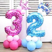 1 шт. 32 дюймов Синий Розовый Фольга номер шар утолщаются латексные воздушные шары юбилей детский душ Дети День рождения надувные игрушки