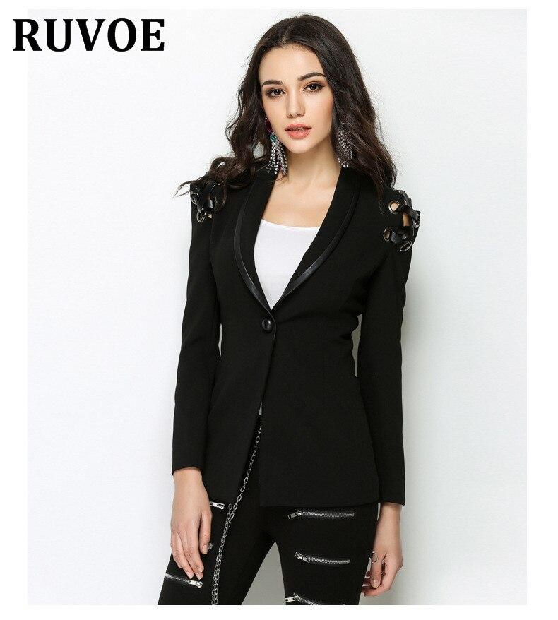 Femmes noir col en v dos à lacets évider veste de moto poches à glissière sexy punk manteau dames veste décontractée hauts casaco HY2
