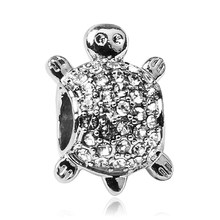 2019 Jewelery for handicrafts Silver tortoise Charms Crystal Rhinestone Pave Beads Fits European Pandora Charm Bracelets(China)