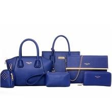 6pcs Bag Set Chic Tote Handbag Shoulder  for Women 5 Colors
