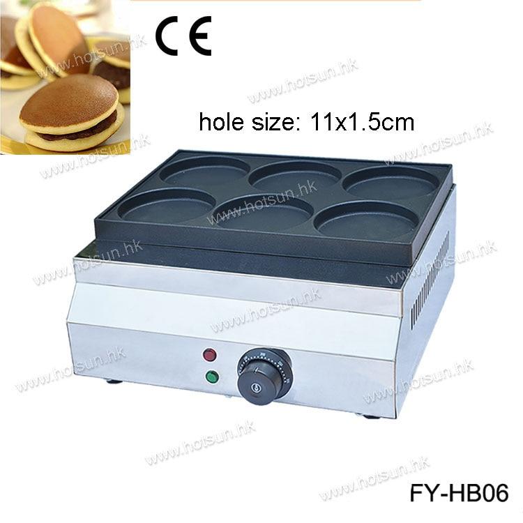 Commercial Non-stick  Electric 220V 6pcs 11cm Pancake Dorayaki Iron Maker Baker Machine hot sale 16pcs commercial use non stick 220v electric dorayaki japanese pancake machine baker maker