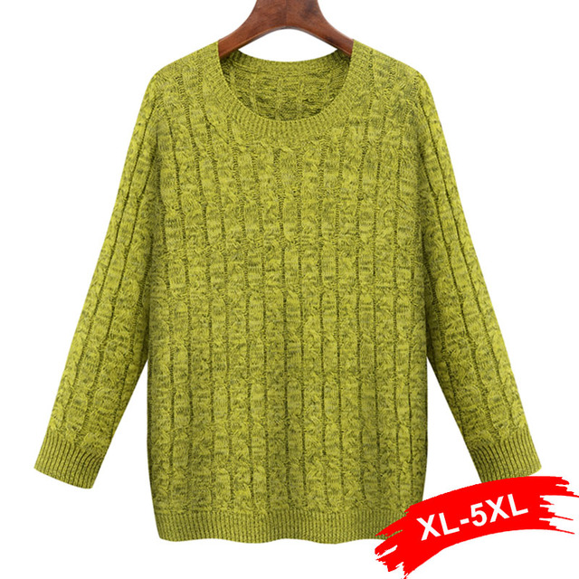 Plus Size Twisted Yellow Pullover Sweater 4Xl 5Xl O Neck Women ...