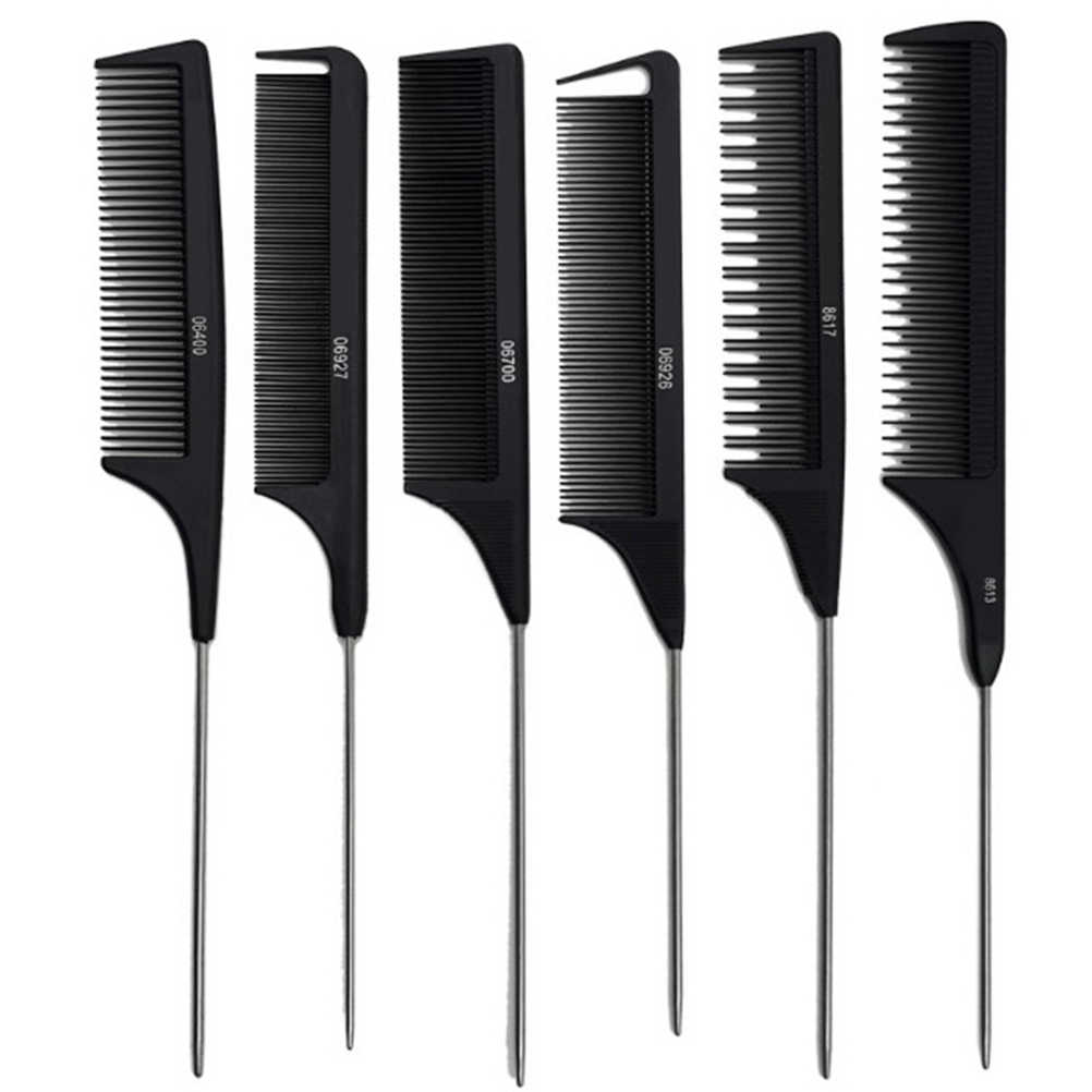 1PCS Heat Resistant Salon Black Metal Pin Tail Antistatic Comb Hard Carbon Cutting Comb Hair Trimmer Brushes