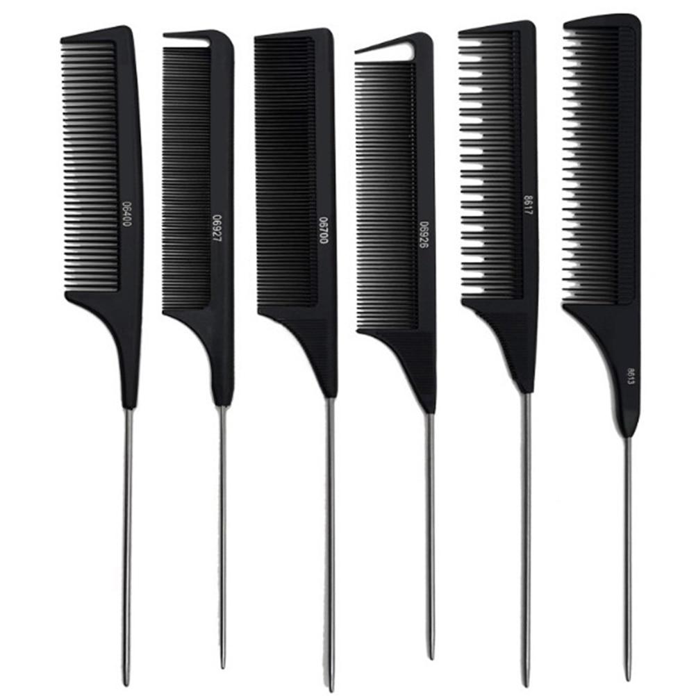 1PCS Heat Resistant Salon Black Metal Pin Tail Antistatic Comb Hard Carbon Cutting Comb Hair Trimmer Brushes
