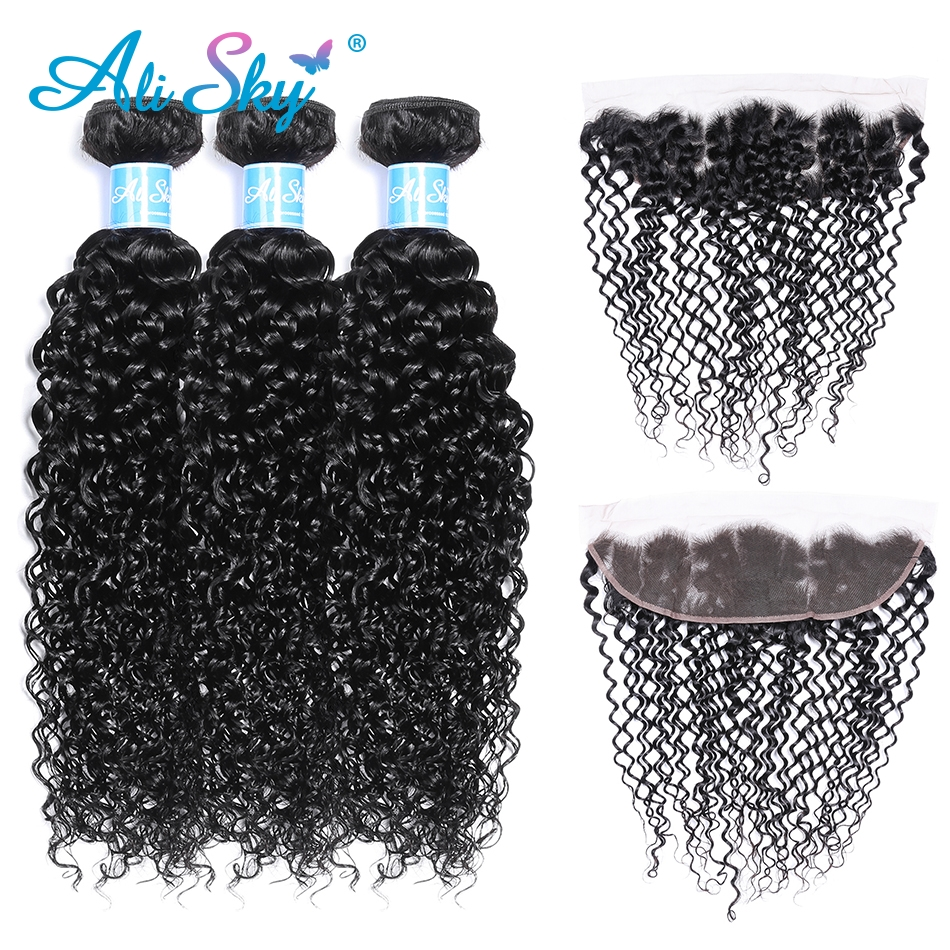 Alisky Hair 3 Bundles Peruvian Kinky Curly Remy Hair with 13X4 Lace Frontal Pre Plucked Ear