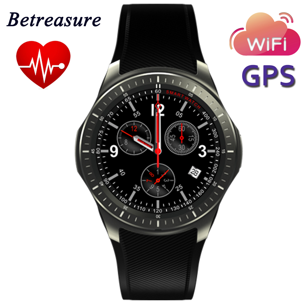 Betreasure Bluetooth DM368 Smart Watch Android WiFi GPS 3G SmartWatch Support SIM Card Heart Rate Monitor For Android IOS crcular shape no 1 d5 android 4 4 bluetooth gps smart watch with heart rate monitor google play gps 4g rom 512m ram smartwatch