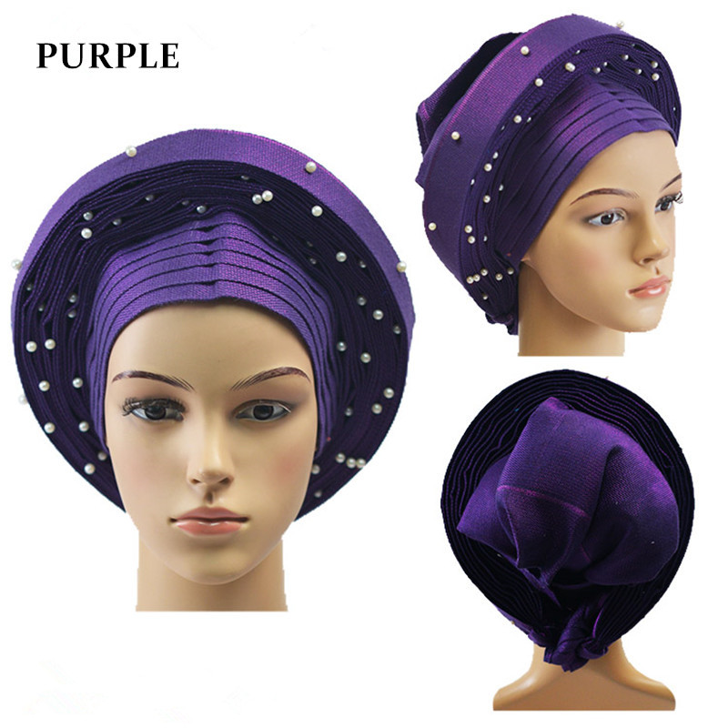 Auto gele nigerian headtie African aso oke headtie with beads 1pc/set Used for party PURPLE AS-1420Auto gele nigerian headtie African aso oke headtie with beads 1pc/set Used for party PURPLE AS-1420