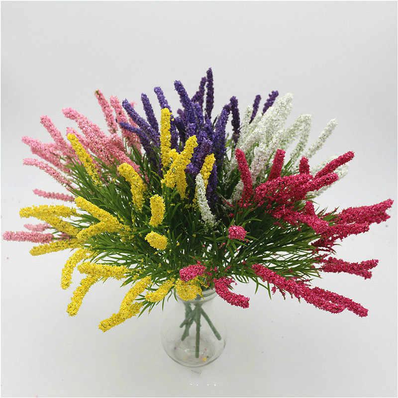 SUEF Novo 7-garfo lavanda imitação falso flor de plástico flor decoração do casamento de espuma flor da espuma de lavanda @ 1