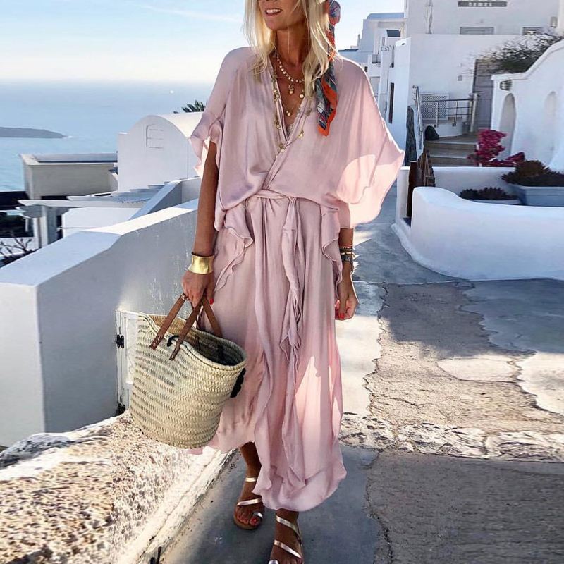 Lipswag 2019 Bohemian Short Sleeve Women Maxi Dress Summer Sexy V Neck Beach Dresses Vestidos Solid Casual Loose Party Sundress