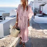 Lipswag 2019 Bohemian Short Sleeve Women Maxi Dress Summer Sexy V Neck Beach Dresses Vestidos Solid Casual Loose Party Sundress