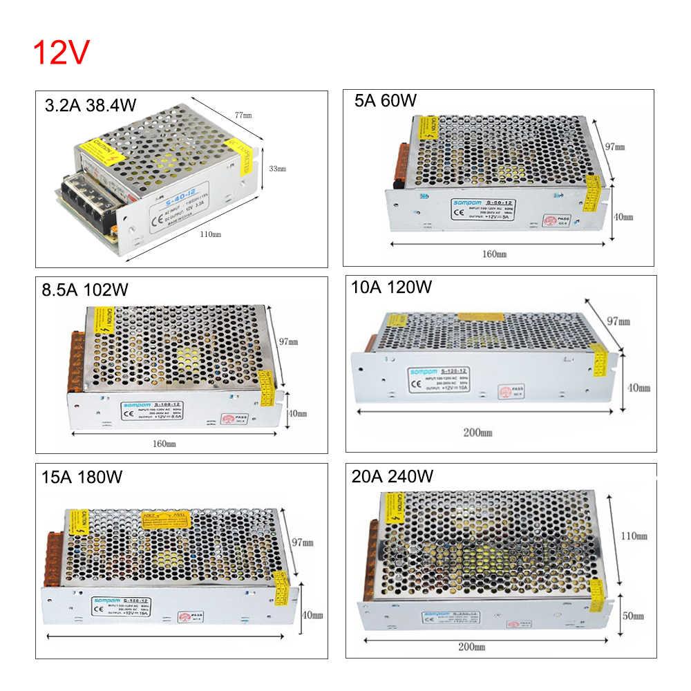 EeeToo светодиодный драйвер Питание DC 12 V 24 V Переключая Мощность адаптер 1A 2A 3A 5A 6A 8A 10A электронный трансформатор AC220V для светодиодной ленты