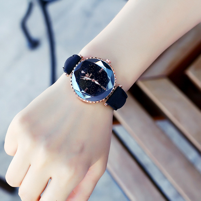 Zegarek Damski 2018 Starry sky Watch Women Leather Analog Quartz Wrist Watches W