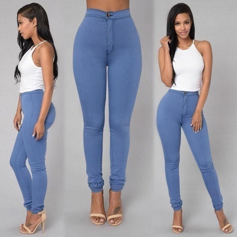 Europe and the United States fashion sexy waist high waist tight pants pencil pants ladies jeans Large size