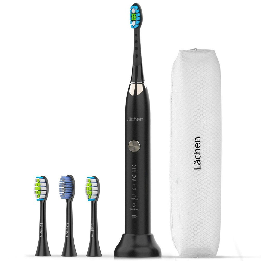Lachen RM T7B Electric Toothbrush Sonic toothbrush with 4 brush heads and timer 5 modes USB