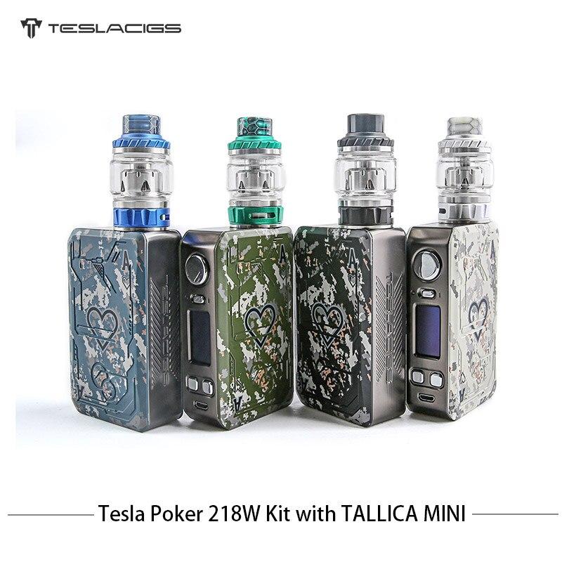 Cigarette électronique Tesla Poker 218 TC Kit de Vape Teslacigs Vape double batterie 7-218 W E Cigarettes avec Mini réservoir Tallica 4 ml