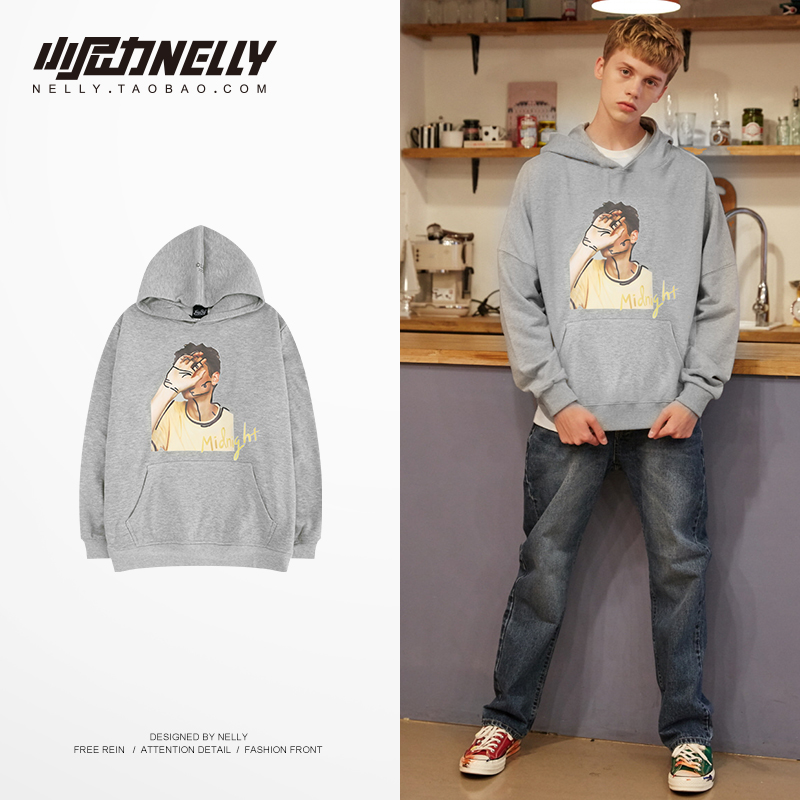 NELLY 2019 Autumn Winter High Street Hoodie Trend Design Fashion Character Print Top Men's Hip Hop Skateboard Sweatshirt(China)