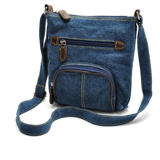 Retro denim crossbody bag women handbags casual zipper soft messenger small shoulder bags front pocket cowboy bags