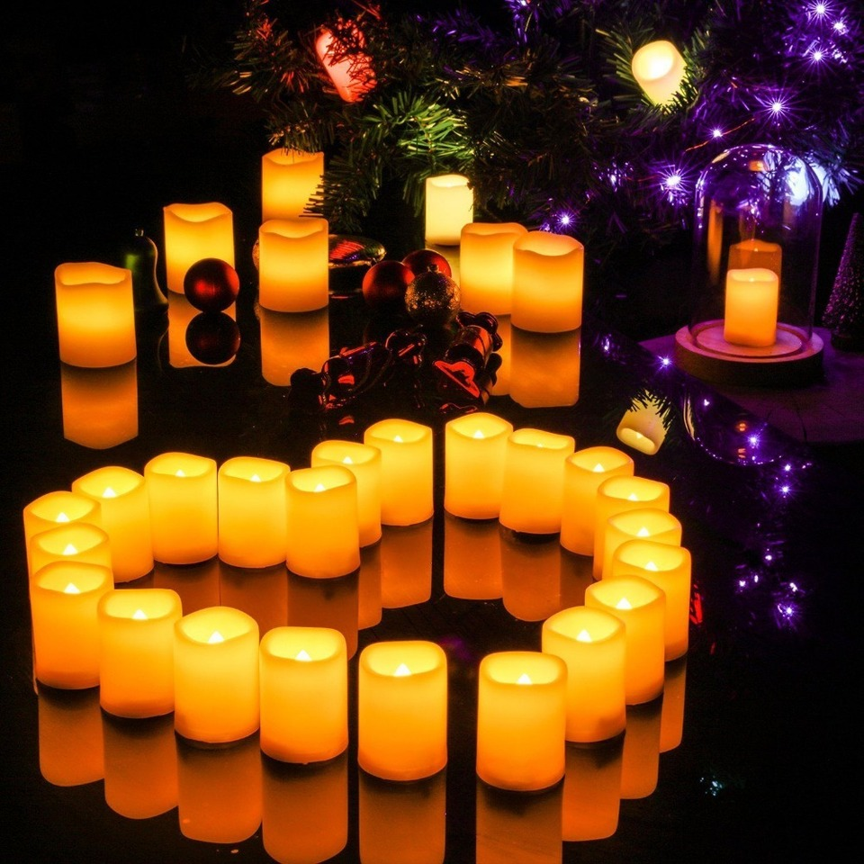 1 ELEOPTION Indoor//Outdoor Flameless Resin Pillar led Candle with 4 /& 8 Hour Timer for Wedding Holidays Christmas
