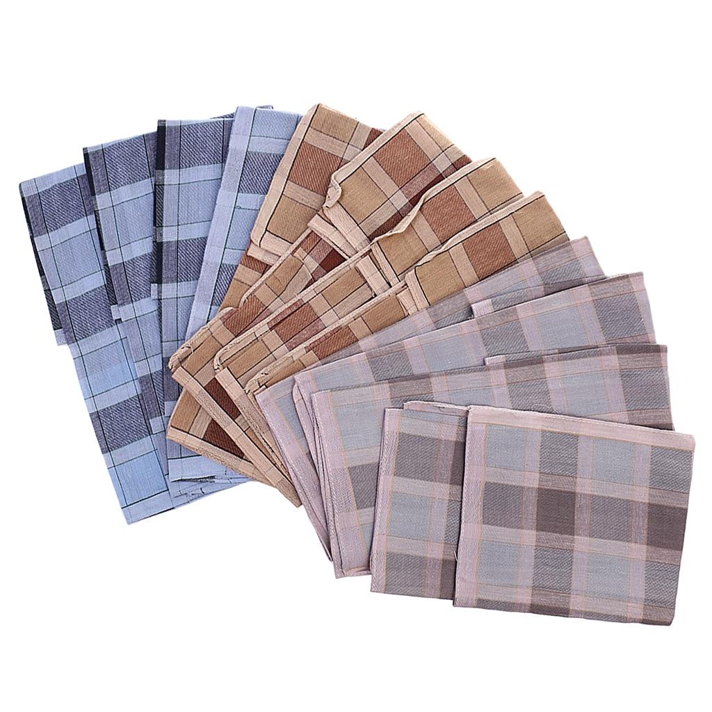 12 Pcs Classic Plaid Square Handkerchief Men Cotton 40*40 Cm Wedding Party Handkerchiefs Vintage Pattern Pocket Hanky Plaid
