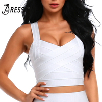 INDRESSME Free Shipping 2017 New Sexy Bandage Women's Summer Crop Top Elastic Spaghetti Strap Tank Top V-Neck Lady's Camis Vest
