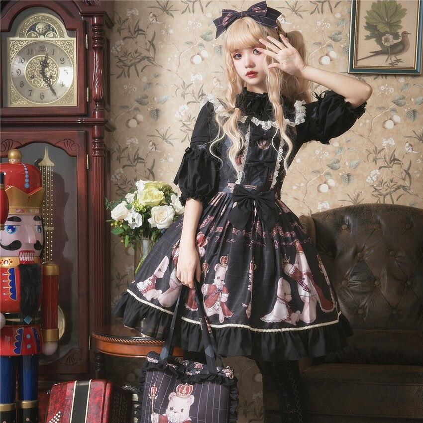 Principessa dolce lolita vestito di Estate e la primavera originale orso stampato vestito dalla cinghia tutti i giorni tutto fiammifero di modo del vestito delle donne ZJY157