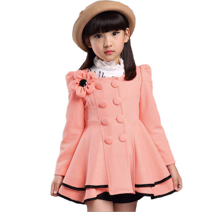 2017 High quality girl Coat fashion Flower Jacket coat for girl Autumn winter outerwear girls Clothes 4-12 years old