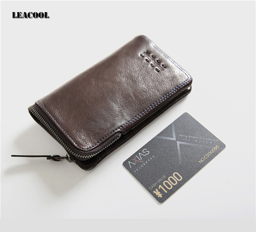 Leacool 100% Genuine Leather Retro Men Wallets High Quality Famous Hasp Design Male Wallet Card Holder for Men's Purse Carteira casual weaving design card holder handbag hasp wallet for women