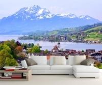 ציורי קיר גדולים מותאם אישית, שוויץ בתי הרי אגם טבע טפט, פארדה דה papel קיר טלוויזיה בחדר שינה סלון