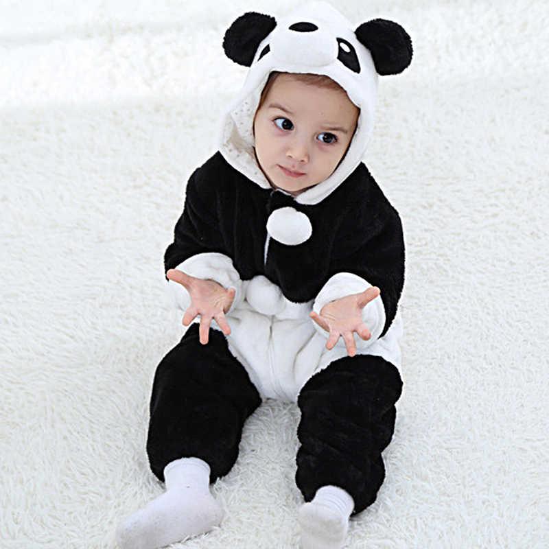 Детский фланелевый комбинезон с изображением животных для новорожденных девочек и мальчиков, комбинезон с капюшоном, Bebe, динозавр, панда, теплые зимние костюмы для косплея, детские домашние костюмы