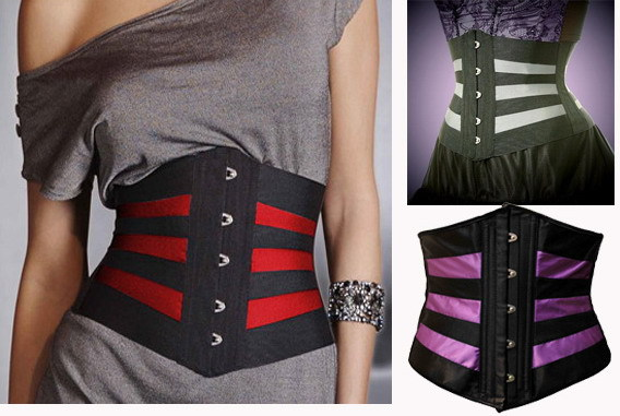 1952c240d7 Women Black Stripe Waist Cincher Corpete Steampunk Slimming Corsette Corsets    Bustiers Waistcoast For Sale