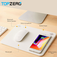 Multifunction Qi Mobile Phone Wireless Charger 6000mah Powerbank Mouse Pad with Bluetooth Speaker Microphone For iphone X 8 8P