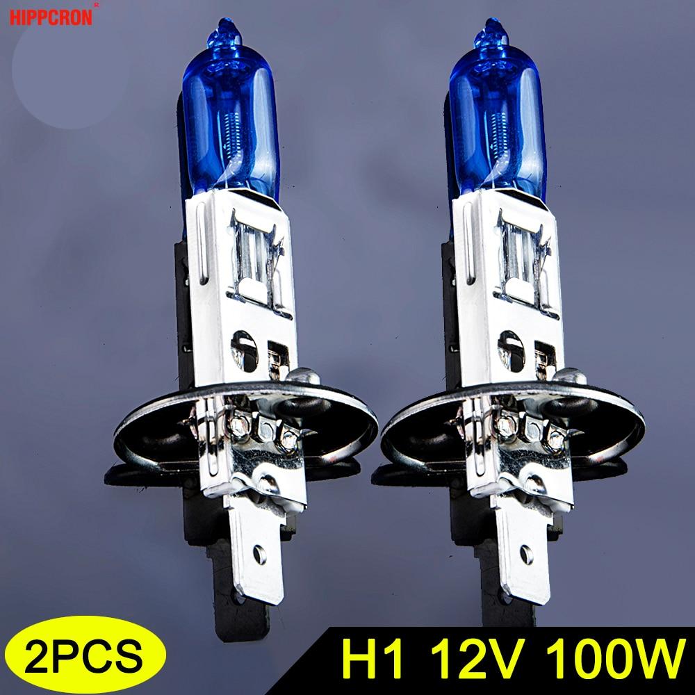 Hippcron Halogen Bulb H1 12V 100W 5000K 2200Lm Car HeadLight Dark Blue Quartz Glass Auto Light Lamp Super White (2 PCS)